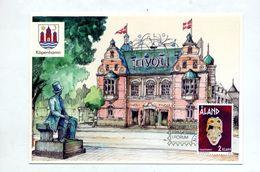 Carte Cachet Exposition 2002 Köpenhamm  Sur Masque Vue Tivoli - Aland