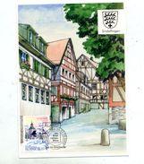 Carte Cachet Exposition 2002 Sindelfingen Sur Eglise Vue Ville - Aland