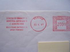 RS9 ITALIA EMA AFFR. MECCANICA ROSSA - 1991 TORINO - CAMERA COMMERCIO INDUSTRIA AGRICOLTURA ARTIGIANATO - Affrancature Meccaniche Rosse (EMA)