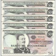TWN - MOZAMBIQUE 116a - 50 Escudos 20.10.1970 (1976) DEALERS LOT X 5 - Prefix B UNC - Mozambico