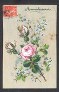 CPA FANTAISIE CELLULOID CELLULOIDE - Peinte à La Main - Bouquet De Fleurs - Anniversaire -#593 - Birthday