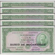 TWN - MOZAMBIQUE 117a - 100 Escudos 27.3.1961 (1976) DEALERS LOT X 5 - Prefix C UNC - Mozambico