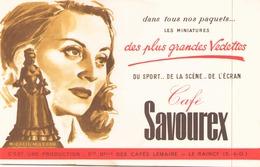 Buvard Café Savourex Michelle Morgan ( 20,5 X 13,5 Cm ) - Blotters