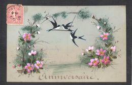 CPA FANTAISIE CELLULOID ANNIVERSAIRE - Peinte à La Main - Oiseau Hirondelle Balançoire Couronne Fleurs Paysage -#594 - Anniversaire