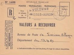 LETTRE. 1960. RECOMMANDE POSTES. BASSES-ALPES VOLONNE POUR BOUCHES DU RHONE BUREU DE SIMIANE-COLLONGUE. VERSO PERLÉ - 1921-1960: Moderne
