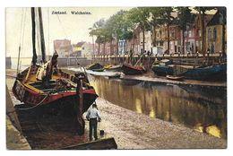 Old Colour Postcard, Netherlands, Holland, Zeeland Watcheren. Canal, Boats, Buildings. - Autres