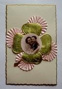 Carte Fantaisie Ajoutis Tissu Froncé  - TREFLE à 4 FEUILLES - Couple - Embroidered