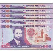 TWN - MOZAMBIQUE 136 - 5000 5.000 Meticais 16.6.1991 DEALERS LOT X 5 - Prefix CB UNC - Mozambico