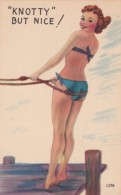 Knotty But Nice Pin-Up, Beautiful Woman, Bathing Beauty, Humor, C1940s Vintage Linen Postcard - Pin-Ups