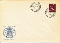 Finland FDC 26-4-1948 Ordinary LION Stamp 24 Mk. In New Colour With LION Cachet - FDC