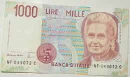 BANCONOTA   - ITALIA - 1000 LIRE  – MONTESSORI  – SERIE NF – 03/10/1990 - (O) - [ 2] 1946-… : Républic