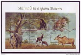 (1370 ) The Gambia -Fauna - Rhinoceros - Cheetah - Chimpanzee - Bok - Eland. - Stamps