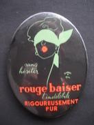 Miroir De Poche Publicitaire  ROUGE BAISER Signé Réné GRUAU - Rouge à Lèvres L'indélébile, Rigoureusement Pur - Unclassified