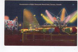 TORONTO, Ontario, Canada, Roller Coaster At Amusement Park, Sunnyside Beach, Old Linen Postcard - Toronto