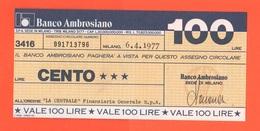 Miniassegno Banco Ambrosiano  100 Lire 1977 - [10] Assegni E Miniassegni