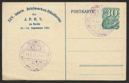 """Mi-Nr. PP 51 C 3/01, """"Intern. Briefmarken-Händlertag"""", Berlin, 1921, Pass. Sst, O - Alemania"""