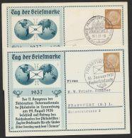 """Mi-Nr. PP 122 C 35/01 +/02. """"Tag Der Briefmarke"""", 1937, Beide Varianten, Je Pass. Sst """"Frankfurt/Main"""", O - Deutschland"""
