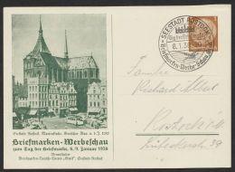 """Mi-Nr. PP 122 C 73/02, """"Rostock- Marienkirche"""", Grün, 1938, Pass. Sst, Kleiner Eckbug, O - Deutschland"""