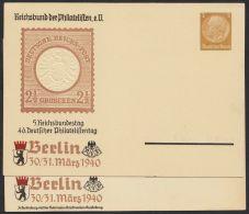 """Mi-Nr. PP 110/01 +/04, """"Philatelistentag 1940"""", 2 Karten Mit 5 Bzw. 6 Schriftzeilen, * - Deutschland"""