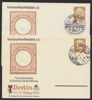 """Mi-Nr. PP 122 C 110/01 +/04, """"Philatelistentag 1940"""", 2 Karten Mit Versch. Sst. """"Berlin"""", O - Deutschland"""