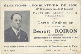 Carte D'adhésion : Benoit Roiron, élections Législatives 1936, SFIO, Loire ( VP ) - Publicité