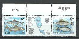 ESTLAND Estonia 2000 Fische Aus D. Peipussee Michel 384 - 385 Dreierstreifen Mit Bogenrand MNH - Estonie