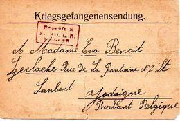 CP Envoi Colis Prisonnier  Guerre 1918  MÜNSTER Eva BENOIT GERLACHE Rue De La Fontaine St Lambert JODOIGNE ( PRIX FIXE ) - Jodoigne