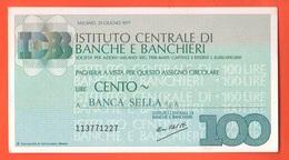 Miniassegno ICBB Banche E Banchieri 100 Lire 1977 Banca Sella - [10] Assegni E Miniassegni