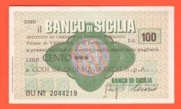 Miniassegno Banco Sicilia 100 Lire 1977 Coin Spa - [10] Cheques Y Mini-cheques