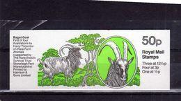 GREAT BRITAIN GRAN BRETAGNA 1982 DEFINITIVES STAMPS 50P FARM FAUNA ANIMALS BAGOT GOAT FARMS BOOKLET LIBRETTO MNH - Booklets