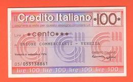 Miniassegno Banca Credito Italiano 100 Lire 1976 Commercianti Venezia - [10] Cheques Y Mini-cheques