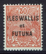 "Wallis And Futuna, Overprint ""ILES WALLIS ET FUTUNA"", 30c. Orange-red, 1922, MNH VF - Wallis And Futuna"
