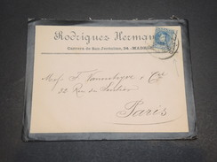 ESPAGNE - Enveloppe Commerciale De Madrid Pour Paris En 1902 -  L 11678 - Covers & Documents