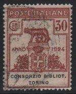 1924 Enti Parastatali Consorzio Biblioteche Torino 30 C. US - 1900-44 Victor Emmanuel III