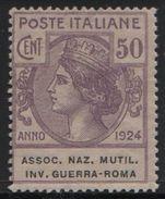 1924 Enti Parastatali Associazione Naz. Mutil Inv. Guerra Roma  50 C. MNH - Usati