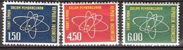 Indonesia 1962 Science, Atomic Nucleus, Electrons  Mi 365-367, MNH(**) - Indonesia