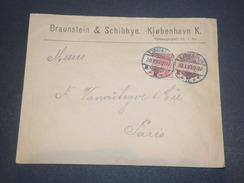 DANEMARK  - Enveloppe Commerciale Pour Paris En 1899, Affranchissement Plaisant - L 11694 - Lettere