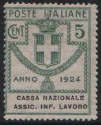 1924 Enti Parastatali Cassa Nazionale Ass. Inf. Lavoro 5 C. MNH - Usati