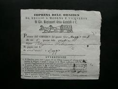 Biglietto Impresa Omnibus Gio. Montanari Gazzino Diligenza Reggio Modena 1855 - Vecchi Documenti