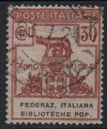 1924 Enti Parastatali Federazione  Italiana Biblioteche Pop. 30 C. US - Usati