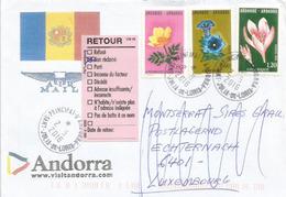 Belle Lettre Fleurs D'Andorre, Adressée Au Luxembourg Et Retour (non Réclamé) - Andorre Français