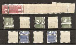 Schweiz, 1970, Rollenmarken, 5 Set 10,20,50  Rp. Verschnitten Aus Dem Automaten, Mit + Ohne Nr., Siehe Scans! - Coil Stamps