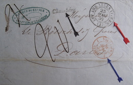"Lot FD/40 -  LSC CHAMBERY > PARIS - MARQUE ""CHAMBERY "" / CàD ROUGE "" SARDAIGNE 3 CULOZ "" / CàD UFF AMB LINEA VITR EM (1) - 1849-1876: Période Classique"
