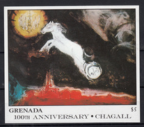 Grenada 1986 Mi Nr Blok 173 , Schilder Marc Chagall ; Fantasie Van St. Petersburg, Paard , Horse - Grenada (1974-...)
