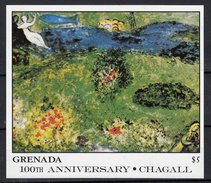 Grenada 1986 Mi Nr Blok 174 , Schilder Marc Chagall ; Boomgaard, 2 Vrouwen - Grenada (1974-...)