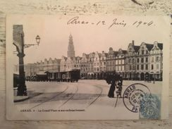 62 - CPA Animée ARRAS - La Grand'Place Et Son Embranchement. - Arras