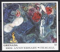 Grenada 1986 Mi Nr Blok 178 , Schilder Marc Chagall ; Paradijs Vrouwen - Grenada (1974-...)