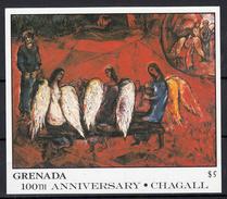 Grenada 1986 Mi Nr Blok 180 , Schilder Marc Chagall ; Abraham Met 3 Engelen - Grenada (1974-...)