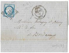 LETTRE Avec N° 60/1  91 G 3 ;   ; TTB - 1871-1875 Cérès