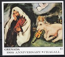Grenada 1986 Mi Nr Blok 179 , Schilder Marc Chagall ; De Droom, Cow, Engel - Grenada (1974-...)